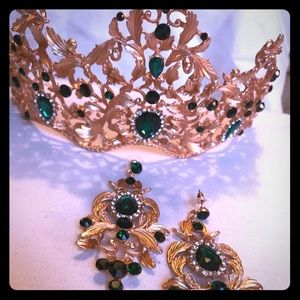 Crystal CROWN Tiara with Matching Runway Earrings